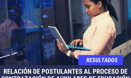 RESULTADO DE POSTULANTES AL PROCESO DE CONTRATACIÓN DE AUXILARES DE EDUCACIÓN 2021