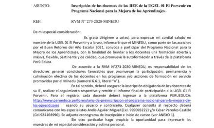 Inscripción de los docentes de las IIEE de la UGEL 01 El Porvenir en  Programa Nacional para la Mejora de los Aprendizajes.