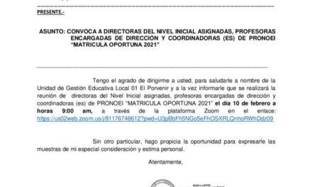 """CONVOCA A DIRECTORAS DEL NIVEL INICIAL ASIGNADAS, PROFESORAS  ENCARGADAS DE DIRECCIÓN Y COORDINADORAS (ES) DE PRONOEI """"MATRICULA OPORTUNA 2021"""""""