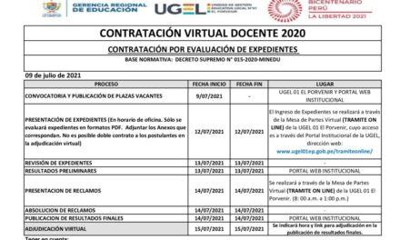 Cronograma Contratación Virtual Docente Modalidad Evaluación de Expedientes – EBR Educación Física