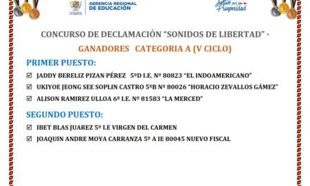 """GANADORES DEL CONCURSO DE DECLAMACIÓN """"SONIDOS DE LIBERTAD"""""""
