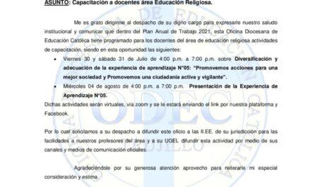 Capacitación a docentes área Educación Religiosa.