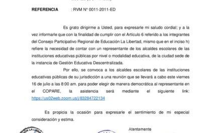 Convocatoria a alcaldes escolares para elección de  representante del Consejo Participativo Regional de Educación La Libertad (COPARELL)