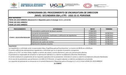 CRONOGRAMA DEL PROCEDIMIENTO DE ENCARGATURA DE DIRECCION  (NIVEL: SECUNDARIA EBA y ETP) – UGEL 01 EL PORVENIR.