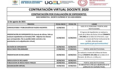 Cronograma Contratación Virtual Docente Modalidad Evaluación de Expedientes -DPCC