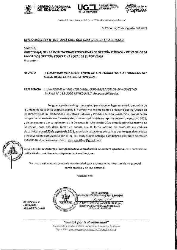 CUMPLIMIENTO SOBRE ENVIO DE SUS FORMATOS ELECTRONICOS DEL CENSO RESULTADO EDUCATIVO 2021.