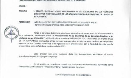 PROCEDIMIENTO DE ELECCIONES DE LOS CONSEJOS DIRECTIVOS Y DE VIGILANCIA  DE LAS APAFA 2021 DE LA UGEL 01 EL PORVENIR