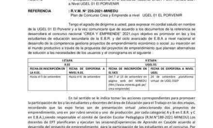 Participación institucional en el Concurso Nacional CREA Y EMPRENDE 2021 a Nivel UGEL 01 El PORVENIR