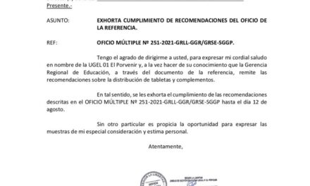 EXHORTA CUMPLIMIENTO DE RECOMENDACIONES DEL OFICIO DE LA REFERENCIA