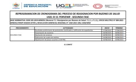 REPROGRAMACION DE CRONOGRAMA DEL PROCESO DE REASIGNACION POR RAZONES DE SALUD  UGEL 01 EL PORVENIR – SEGUNDA FASE.