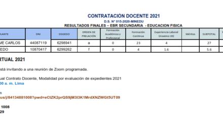RESULTADOS FINALES – EBR SECUNDARIA  – EDUCACION FISICA