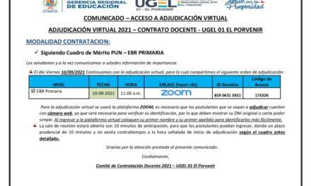 ADJUDICACIÓN VIRTUAL 2021 – CONTRATO DOCENTE – UGEL 01 EL PORVENIR MODALIDAD CONTRATACION PUN