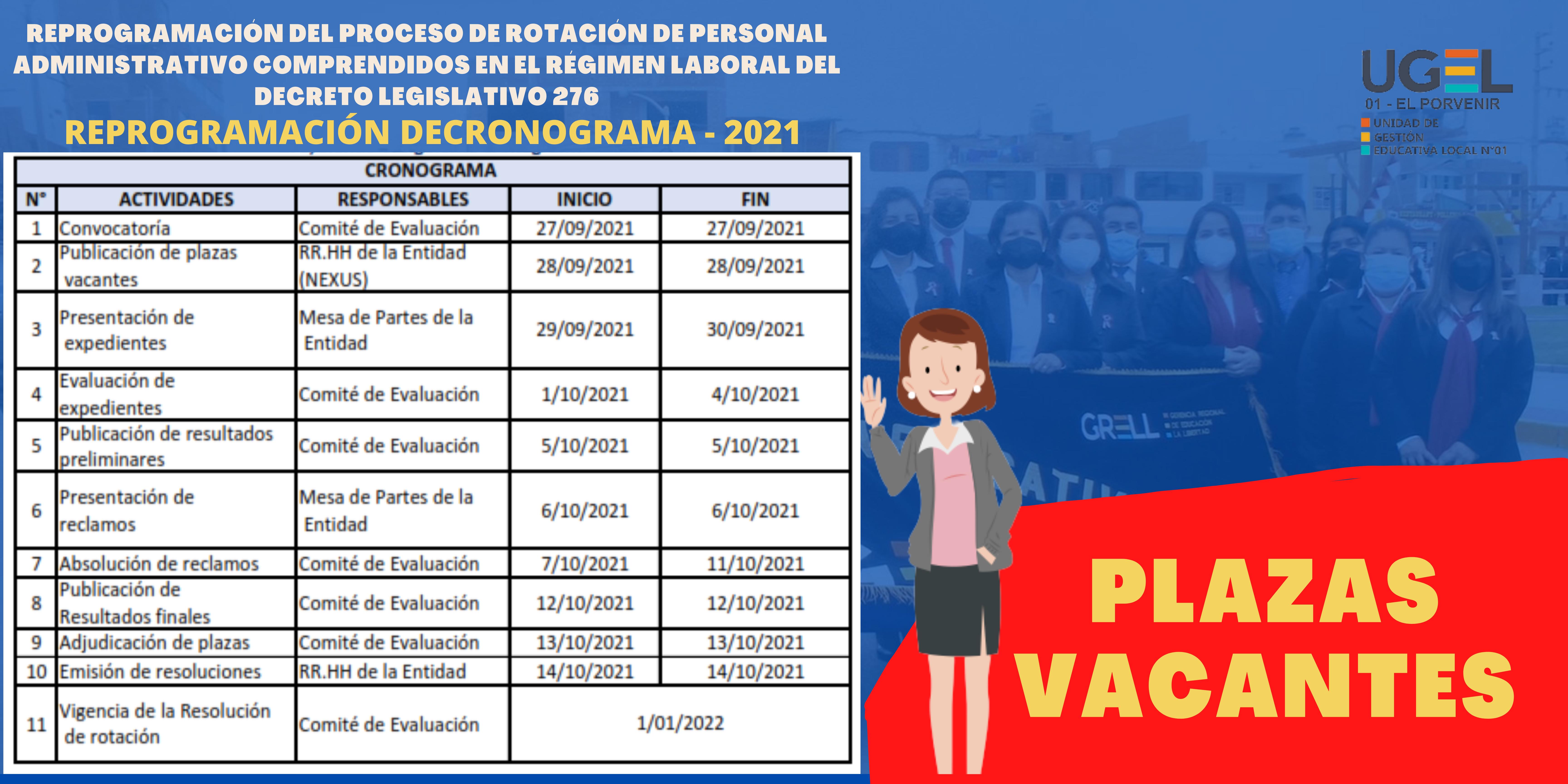 REPROGRAMACIÓN DEL PROCESO DE ROTACIÓN DE PERSONAL ADMINISTRATIVO COMPRENDIDOS EN EL RÉGIMEN LABORAL DEL DECRETO LEGISLATIVO 276