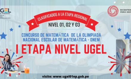 Resultados del Concurso de matemática  de la Olimpiada Nacional Escolar de Matemática – ONEM – I Etapa a nivel de UGEL