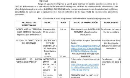Reprogramación de actividades de celebración del bicentenario a nivel UGEL 01 EL PORVENIR