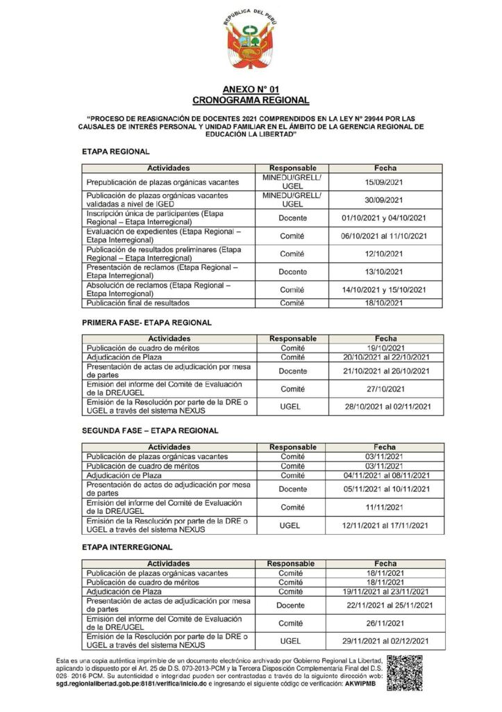 REASIGNACION DOCENTE CRONOGRAMA REGIONAL DE REASIGNACIÓN DOCENTE 2021 RGR 3154-2021-GRLL-GGR-GRE