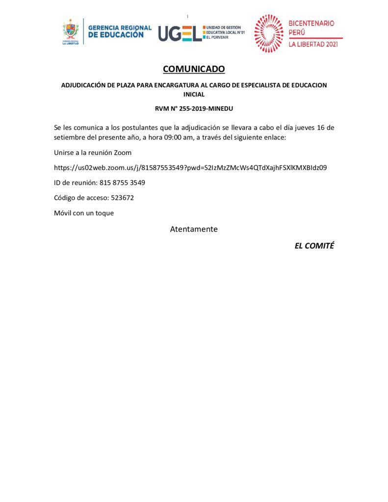 COMUICADO – ADJUDICACIÓN DE PLAZA PARA ENCARGATURA AL CARGO DE ESPECIALISTA DE EDUCACION INICIAL