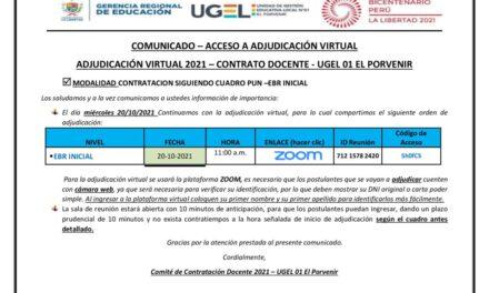 ADJUDICACIÓN VIRTUAL 2021 – CONTRATO DOCENTE – UGEL 01 EL PORVENIR – EBR  INICIAL