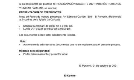COMUNICADO DE PROCESO DE REASIGNACIONES 2021