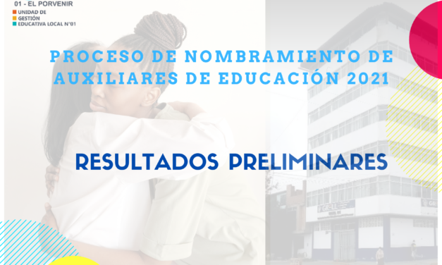 RESULTADOS PRELIMINARES DEL PROCESO DE NOMBRAMIENTO DE AUXILIARES DE EDUCACIÓN 2021