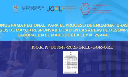 CRONOGRAMA REGIONAL, PARA EL PROCESO DE ENCARGATURAS EN CARGOS DE MAYOR RESPONSABILIDAD EN LAS ÁREAS DE DESEMPEÑO LABORAL EN EL MARCO DE LA LEY N° 29444.